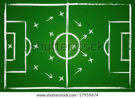 Football teamwork strategy. Illustration game. Vector background. - stock vector