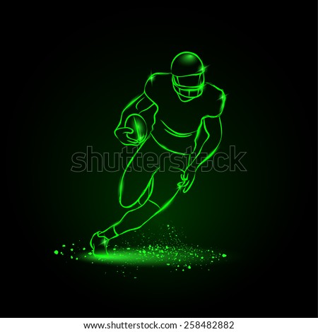 Football. The player runs away with the ball. neon style - stock vector
