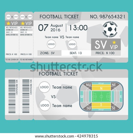 Football Ticket Modern Design Soccer Stadium Stock-Vektorgrafik ...
