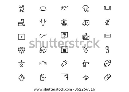 Football Vector Line Icons 4 - stock vector