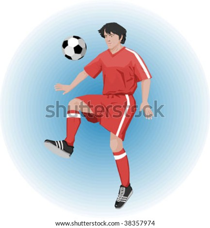footballer on blue background