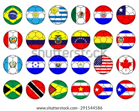 Footballs with Flags of the Americas with Coat of Arms - stock vector