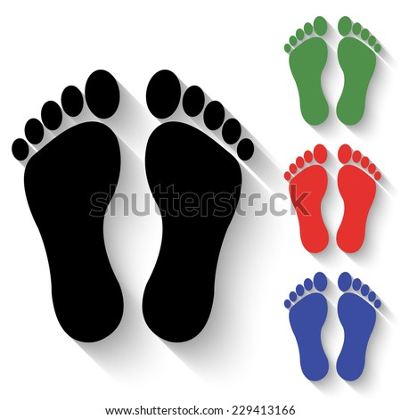footprints icon - black and colored (green, red, blue) illustration with shadow - stock vector