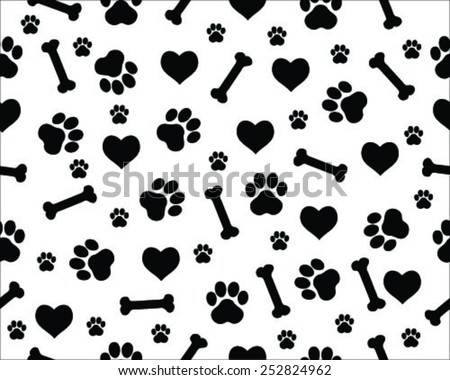 Footprints of cat, seamless vector wallpaper - stock vector