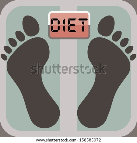 footprints on bathroom scale, scale display shows word diet - stock vector