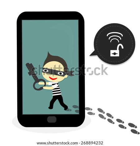 footrprint out of mobile and thief carry key on mobile with unlock warning. - stock vector