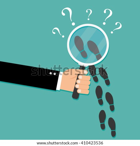Footsteps flat icon. Detective inspecting - stock vector