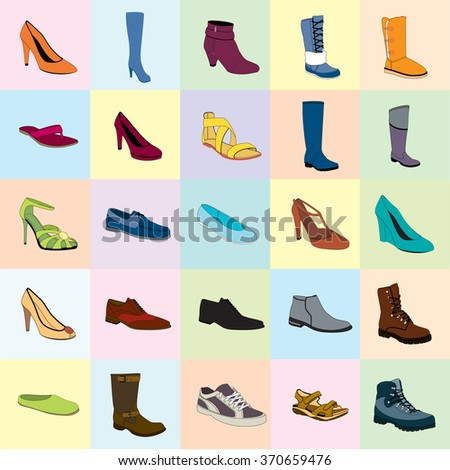 Footwear. Color footwear set, footwear. Names: ankle boot, biker boot, business shoe, heel-strap sandals, men sandal, moccasin, outdoor boots, rubber boots, sandals, snow boots, trainers, footwear - stock vector