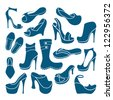 Footwear graphical icons collection - stock vector