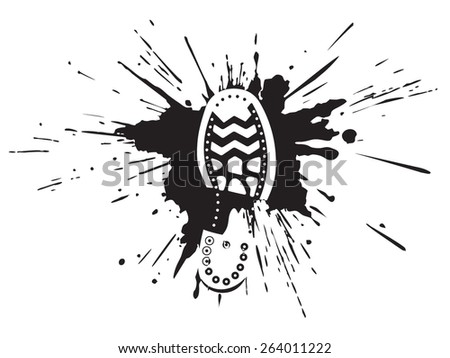 footwear print in a pool in style grunge - stock vector