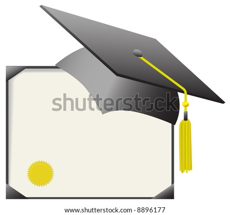 For cap & gown day: gray mortar board graduation cap & gold tassle, with gold diploma certificate. - stock vector