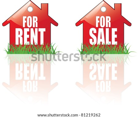 For Rent, For Sale house icons - stock vector