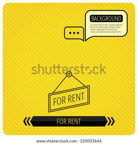 For rent icon. Advertising banner tag sign. Chat speech bubbles. Orange line background. Vector - stock vector