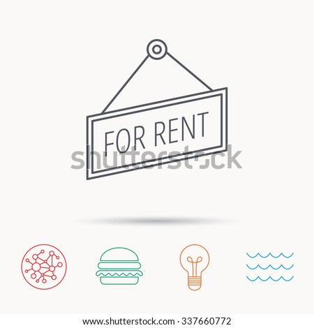For rent icon. Advertising banner tag sign. Global connect network, ocean wave and burger icons. Lightbulb lamp symbol. - stock vector