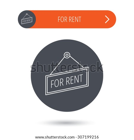 For rent icon. Advertising banner tag sign. Gray flat circle button. Orange button with arrow. Vector - stock vector