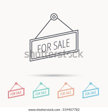 For sale icon. Advertising banner tag sign. Linear icons on white background. Vector - stock vector