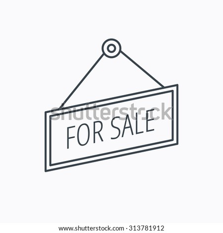 For sale icon. Advertising banner tag sign. Linear outline icon on white background. Vector - stock vector
