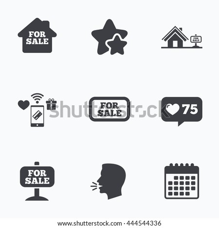 For sale icons. Real estate selling signs. Home house symbol. Flat talking head, calendar icons. Stars, like counter icons. Vector - stock vector