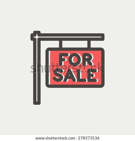For sale placard icon thin line for web and mobile, modern minimalistic flat design. Vector icon with dark grey outline and offset colour on light grey background. - stock vector