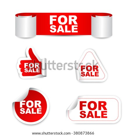 for sale, red vector for sale, red sticker for sale, set stickers for sale, element for sale, sign for sale, design for sale, picture for sale, for sale eps10 - stock vector