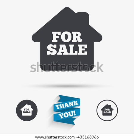 For sale sign icon. Real estate selling. Flat icons. Buttons with icons. Thank you ribbon. Vector - stock vector
