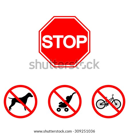 Forbidden animals. Forbidden bicycle. Forbidden buggy. Forbidden children. Stop sign. Do not enter - stock vector