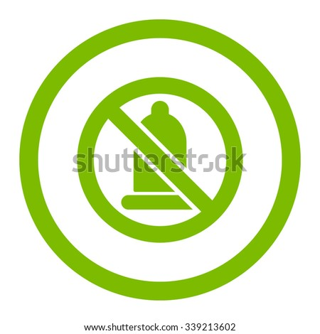 Forbidden Condom vector icon. Style is flat rounded symbol, eco green color, rounded angles, white background.