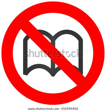 Forbidden sign with book icon isolated on white background.