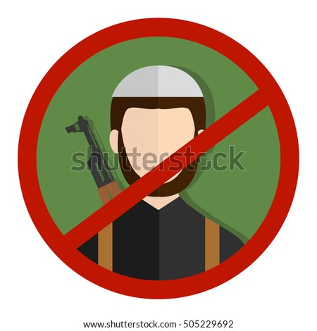Forbidden sign with terrorist soldier silhouette vector