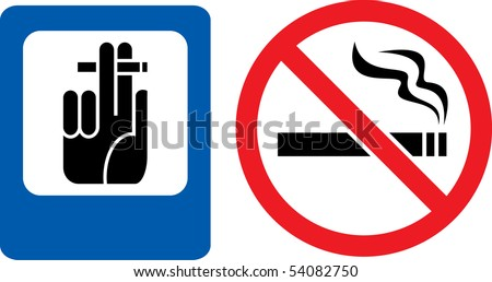 "Forbidding and permitting vector signs ""No smoking"" and ""Smoking here"" - stock vector"