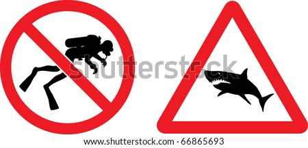 """Forbidding and Prevention Vector Signs """"No Diving"""",  """"Shark"""" - stock vector"""