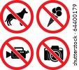 "Forbidding Vector Signs ""No Dog or Pets"", ""No Ice-cream"", ""No Video"" and ""No Photo"" - stock photo"
