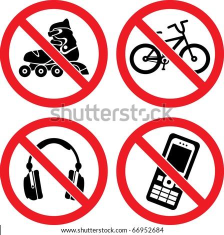 "Forbidding Vector Signs ""No Roller-skate"", ""No Earphones"", ""No Video"" and ""No Phone"" - stock vector"