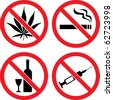 "Forbidding  Vector Signs ""No Smoking"", ""No Drugs"", ""No Cannabis""  and ""No Alcohol"" - stock photo"