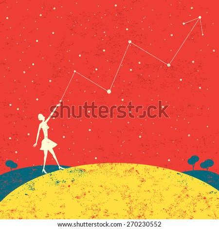 Forecasting future profits A businesswoman forecasting future profits that are written in the stars.  - stock vector