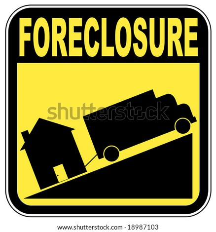 foreclosure sign with truck towing house - crashing house market concept - stock vector