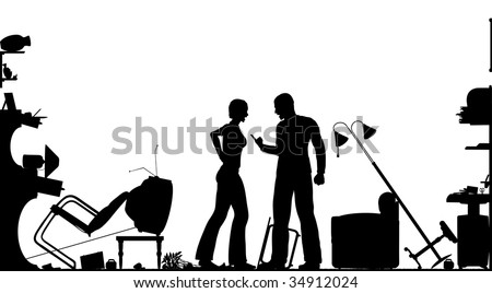 Foreground silhouette of a couple having a serous domestic argument in a living room with all elements as separate editable objects - stock vector