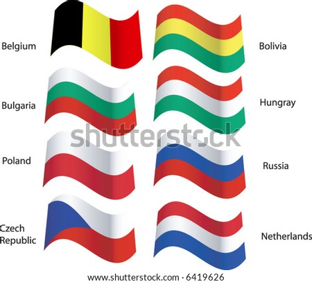 Foreign Flags 2 Blolwing in the Breeze - stock vector
