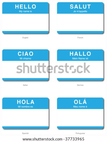 Foreign Language Hello sticker in Asian languages - stock vector