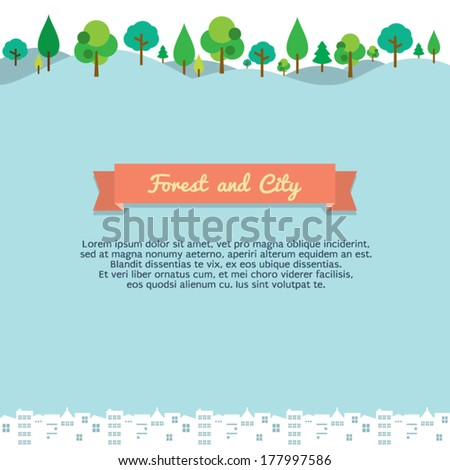 Forest And City Vector Background - stock vector