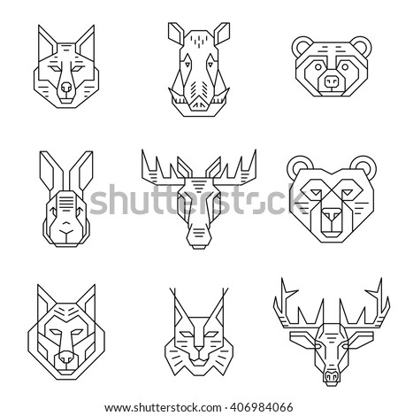 Forest animals heads line icons. Simple contour pictograms. Isolated vector elements on white background. Graphic elements can be used as logotypes. - stock vector