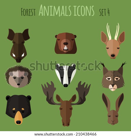 Forest animals icons with flat design. Vector illustration - stock vector