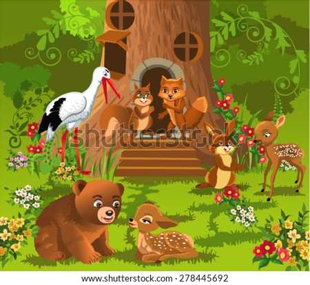 forest animals living in the tree house - stock vector