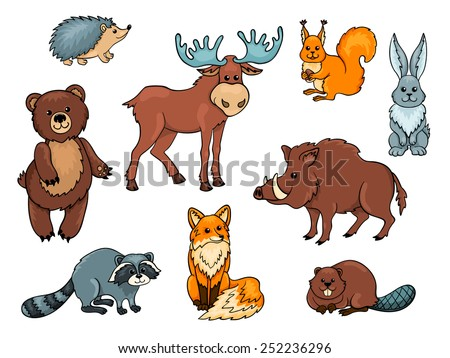 Forest animals set. Isolated on white. Cartoon vector illustration. - stock vector