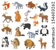 Forest animals set on white background - stock vector