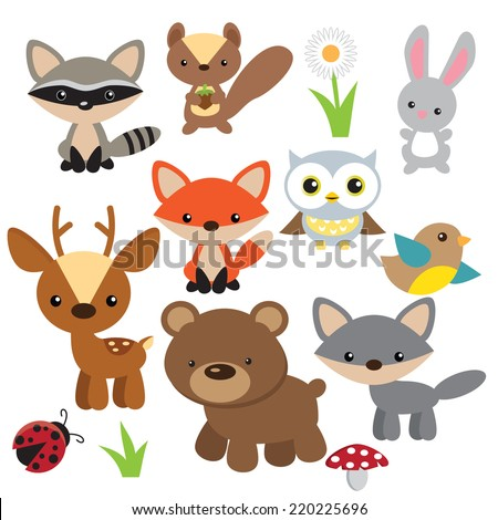 Forest animals vector illustration - stock vector