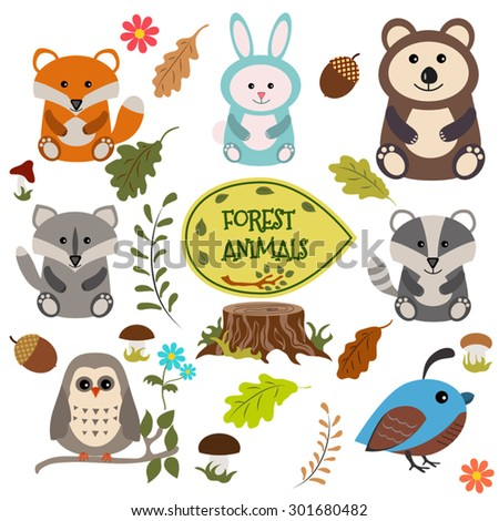 Forest animals vector set of icons and illustrations. - stock vector