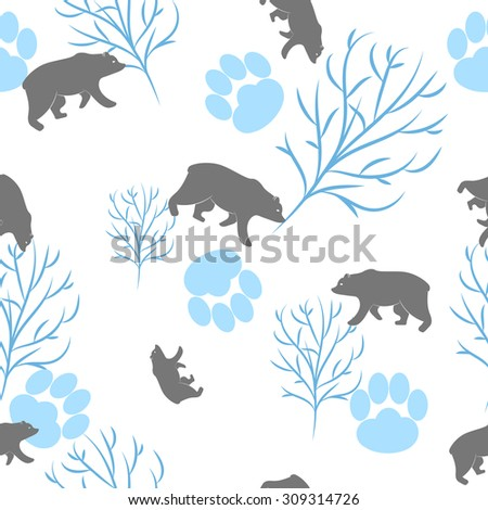 Forest bear seamless pattern. Vector winter holidays light white background. Trees silhouettes without foliage, animal paws and snow - stock vector