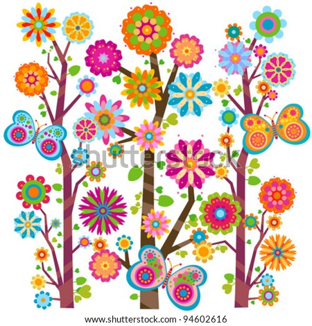 forest blooming - stock vector