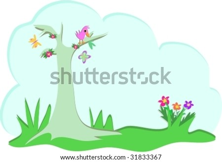 Forest Bubble with Tree and Bird Vector